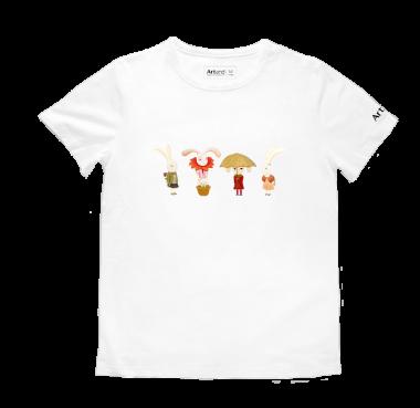 艺术T恤-兔子组合白色款