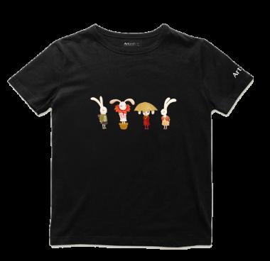 艺术T恤-兔子组合黑色款